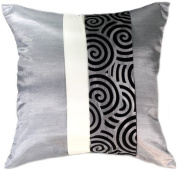 Artiwa 41cm x41cm Silk Decorative Pillow Cover for Couch & Bed : Silver Spiral - Best Gift