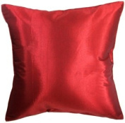 Artiwa 41cm x41cm Silk Satin Decorative Throw Pillow Cover for Couch and Bed : Red