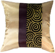 Artiwa 41cm x41cm Silk Sofa Bed Decorative Pillow Cover : Vegas Gold Spiral - Gift Recommend