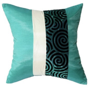 Artiwa 41cm x41cm Throw Decorative Silk Pillow Cover : Turquoise & Cream Spiral - Best Gift Recommend