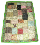 Beautiful Indian Hand made Wall Hanging / Throw Patchwork Design Green #8