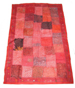 Beautiful Indian Hand made Wall Hanging / Throw Patchwork Design Red #12