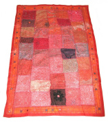 Beautiful Indian Hand made Wall Hanging / Throw Patchwork Design Red #14