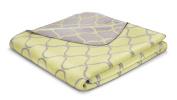 Bocasa 150 x 200 cm Ornament Lines Blanket Throw, Sulphureous/ String
