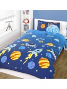 BOYS ROCKETS SPACE & PLANETS SINGLE DUVET COVER & PILLOWCASE - BLUE, Blue, Single