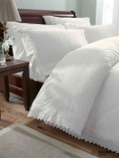Double Bed Luxury Embroidered Duvet Cover Set Balmoral White
