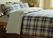 Catherine Lansfield Tartan Double Bed Quiltset, Navy