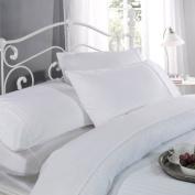 Ritz Cotton 300 Thread Count Sateen Stripe Duvet Cover Set, White, Double