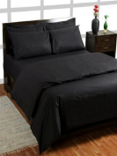 Homescapes 200 Thread Count Ultrasoft - Plain Black Duvet Cover - Super King - 2 Housewife Pillowcase included - 100% Egyptian Cotton, Anti Dust Mite.