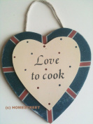 Union Jack Hanging Wooden Heart - Love To Cook