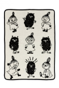 Moomin - Baby blanket, 100% cotton chenille -Little My & Stinky- black/white, 70x90 cm (Klippan) [2514-02]