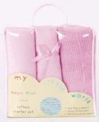 Nursery Baby Bale Pram/Moses Starter Set Pink - Cellular, Popcorn Blanket, Jersey Sheet Gift Set