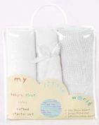 Nursery Baby Bale Pram/Moses Starter Set White - Cellular, Popcorn Blanket, Jersey Sheet Gift Set