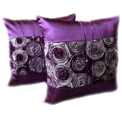 Thaimart Beautiful Flower One pair Purple Cover Pillow Beautiful Flower Throw Cushion Cover/pillow Case Handmade By Satin and Thai Silk for Decorative Sofa, Car and Living Room Size 41cm X 41cm