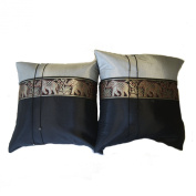 One Pair Elephant Middle Stripe Throw Cushion Cover/Pillow Sham Handmade by Satin and Thai Silk for Decorative Sofa, Car and Living Room Size 41cm X 41cm