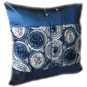 Thaimart Beautiful Flower Single Blue Cover Pillow Beautiful Flower Throw Cushion Cover/pillow Case Handmade By Satin and Thai Silk for Decorative Sofa, Car and Living Room Size 41cm X 41cm