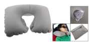U Shaped Travel Inflatable Flannel Surface Pain Relief Neck Pillow Grey