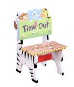 Fantasy Fields - Sunny Safari Animals themed Kids Wooden Time Out Naughty Chair | Hand Painted Details | Child Friendly Water-based Paint