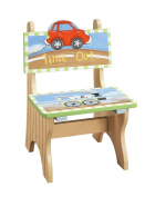Fantasy Fields - Transportation themed Kids Wooden Time Out Naughty Chair | Hand Painted Details | Child Friendly Water-based Paint