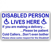 Disabled Person Lives Here Sticker-External Window or Door Information Sign-Delivery/Sales-Mobility-Disability
