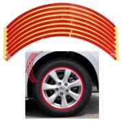 Set 8mm Red Car Wheel Rim Reflective Tape Stripe Decal Sticker