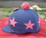 Equestrian-Horse Riding navy Hat cover with red star design and pom pom