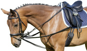 USG Side Reins with 2 Separate Leather Straps/ Silver Fittings, 1.8 - 2 m, 18 mm, Cob/ Full, Black