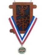 Martial Arts Wooden Black Belt Kanji Medal Display - (Item