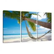 Visario 1039 Canvas Picture 160 x 90 cm 3 Parts Beach
