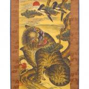 Tiger and Magpie on Pine Tree Silk Scroll Hanging Wall Art Interior Decor Handmade Asian Print Korean Folk Bird Painting