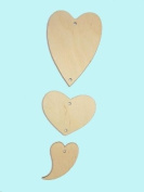 Wooden Heart Shape Garland Wall Tag Plaque Party Wedding Bedroom Decoration - HEARTS