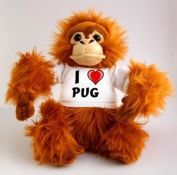 Plush Monkey (Orangutan) Toy with I Love Pug T-Shirt