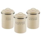 Vintage Kitchen 3 Piece Storage Jars Set in Cream