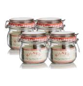 4 x Kilner Traditional 0.5 Litre Airtight Clip Top Preserve Glass Storage Jars
