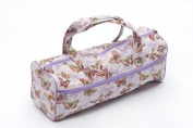 Knitting / Craft Bag, double fabric handles showing butterflies on a light lilac background fabric
