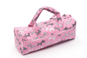 Knitting / Craft Bag, double fabric handles showing Scottie dogs on a pink background fabric