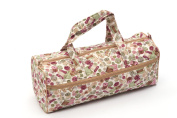 Knitting / Craft Bag, double fabric handles showing sewing accessories on a white background fabric
