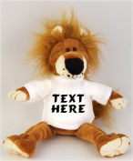 Plush Stuffed Lion (Fetzy) toy with personalised t-shirt - Custom Plush Lion