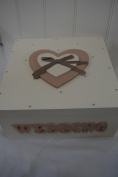 Memory Box Wedding Extra-Large Gold And Cream Heart With Gingham Ribbon Shabby