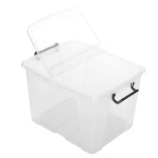 """Strata Smart """"Storemaster"""" 40L Litre Clear Storage Box Container - Strong and Robust With Folding Lid & Clip Handles for Secure Locking"""