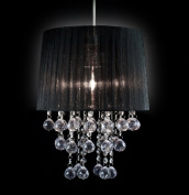 Black Voile Pendant Light Lamp Shade Acrylic Droplets Balls- Clear
