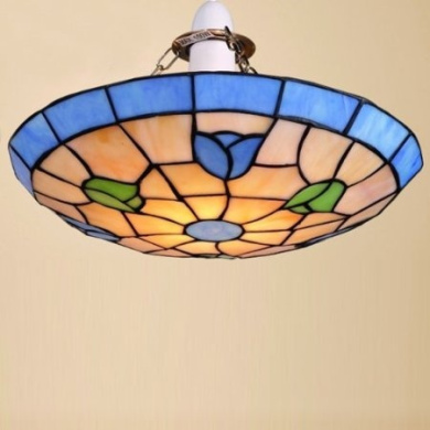 Tiffany Tulip Floral Stained Glass Uplighter Ceiling Light Shade Pendant, Blue / Green - 30 cm