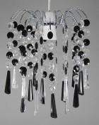 Acrylic Chiselled Droplet Silver Frame Pendant Light Fitting- Clear/Black