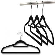 20 Velvet Flocked Non-Slip Coat Hangers with Bar - 42cm