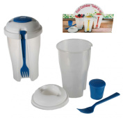 Take Away Salad Container with Fork and Dressing Container