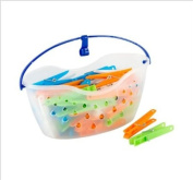 48 Clothes Airer Dryer Hangers Pegs With Peg Basket.