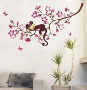 Sleeping Monkey on Pink Flower Tree Wall Sticker for children bedroom baby nursery