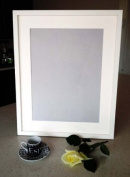"""Frames by Post 18mm wide Rio White Picture Photo Frame WithWhite Mount 14""""X11"""" for Pic Size A4"""