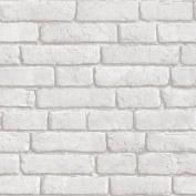 Light Grey / White - J30309 - Brick Effect - Muriva Wallpaper