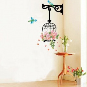 Blue Birds and Flowers - bird cage wall stickers for home art decoration